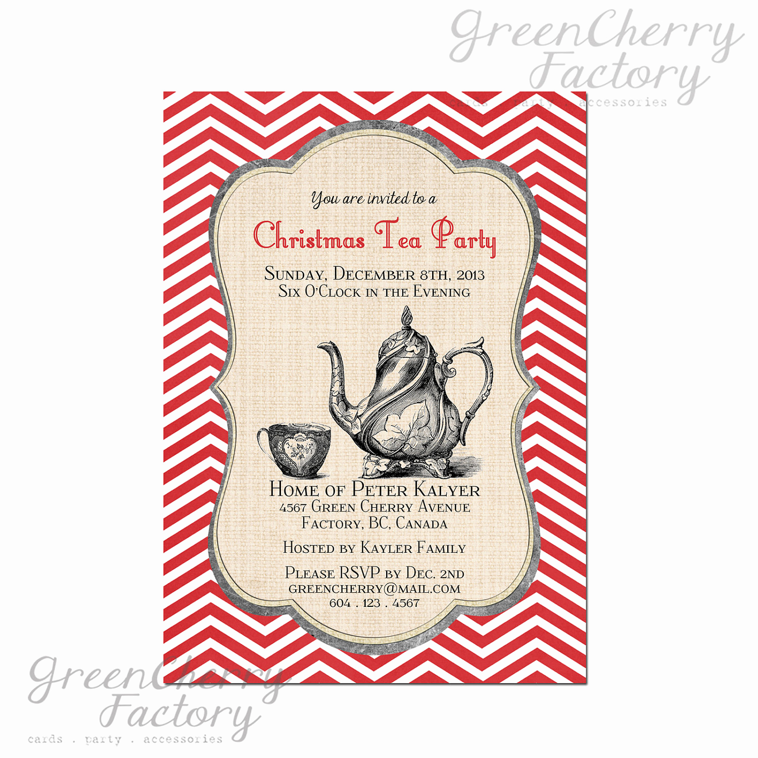 Invitation for Tea Party Elegant Items Similar to Printable Christmas Tea Party Invitation
