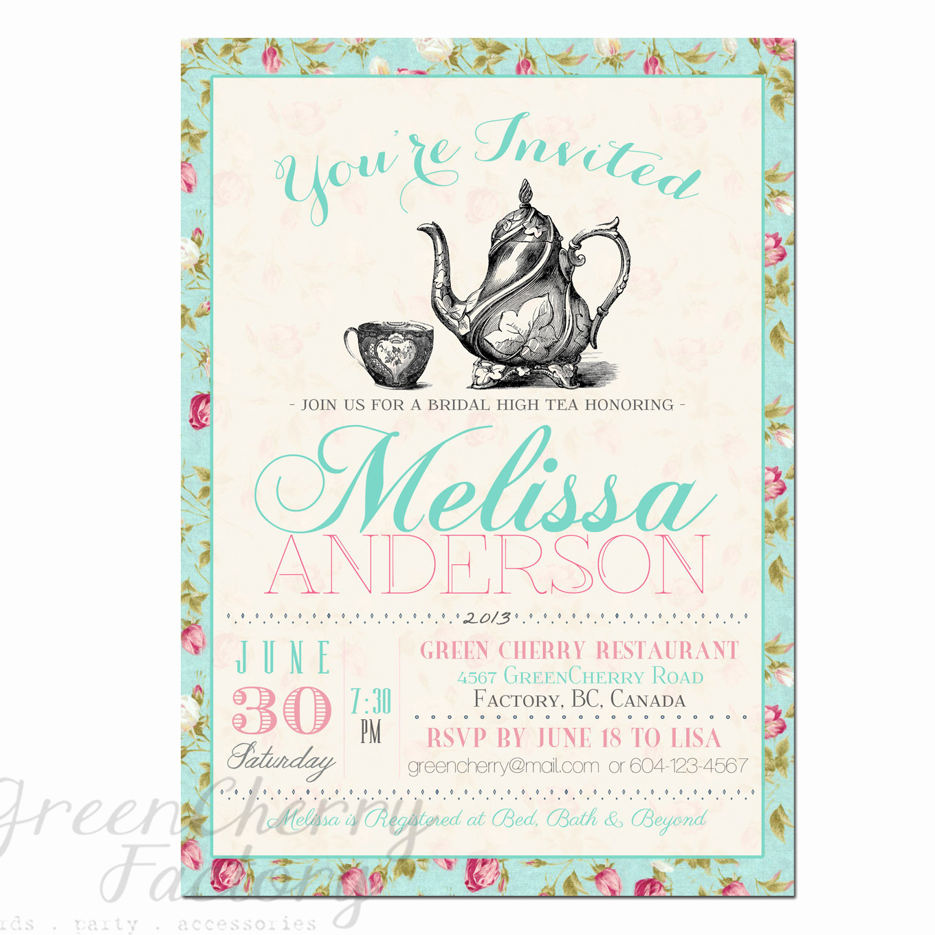 Invitation for Tea Party Elegant Items Similar to Tea Party Invitation Typography High