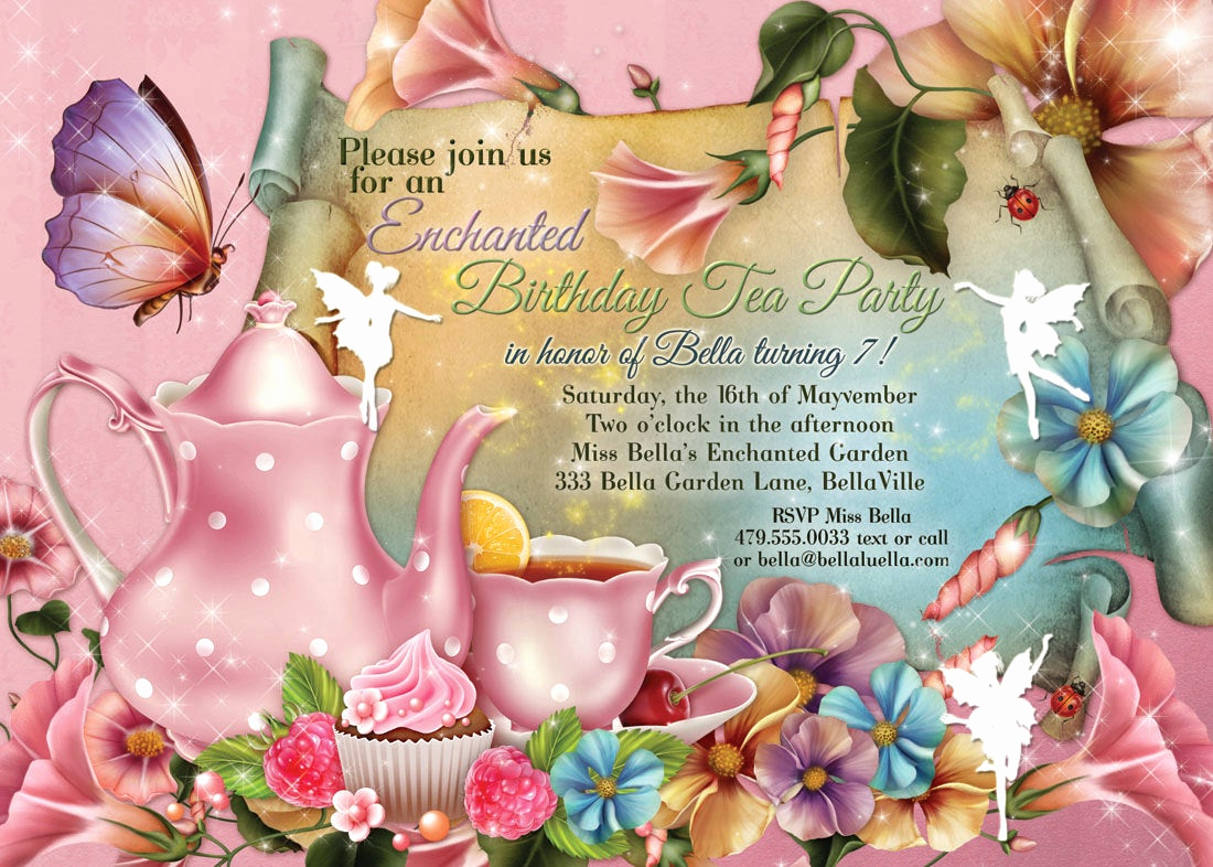 Invitation for Tea Party Fresh Fairy Tea Party Invitation Birthday Tea Party Tea Party