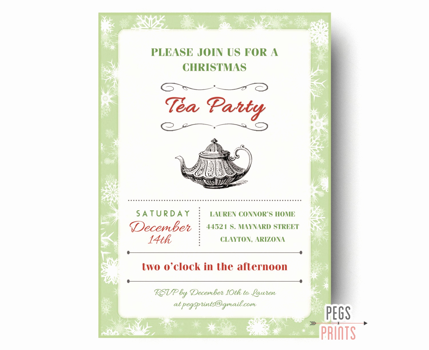 Invitation for Tea Party Inspirational Christmas Tea Party Invitation Printable Holiday Tea Party
