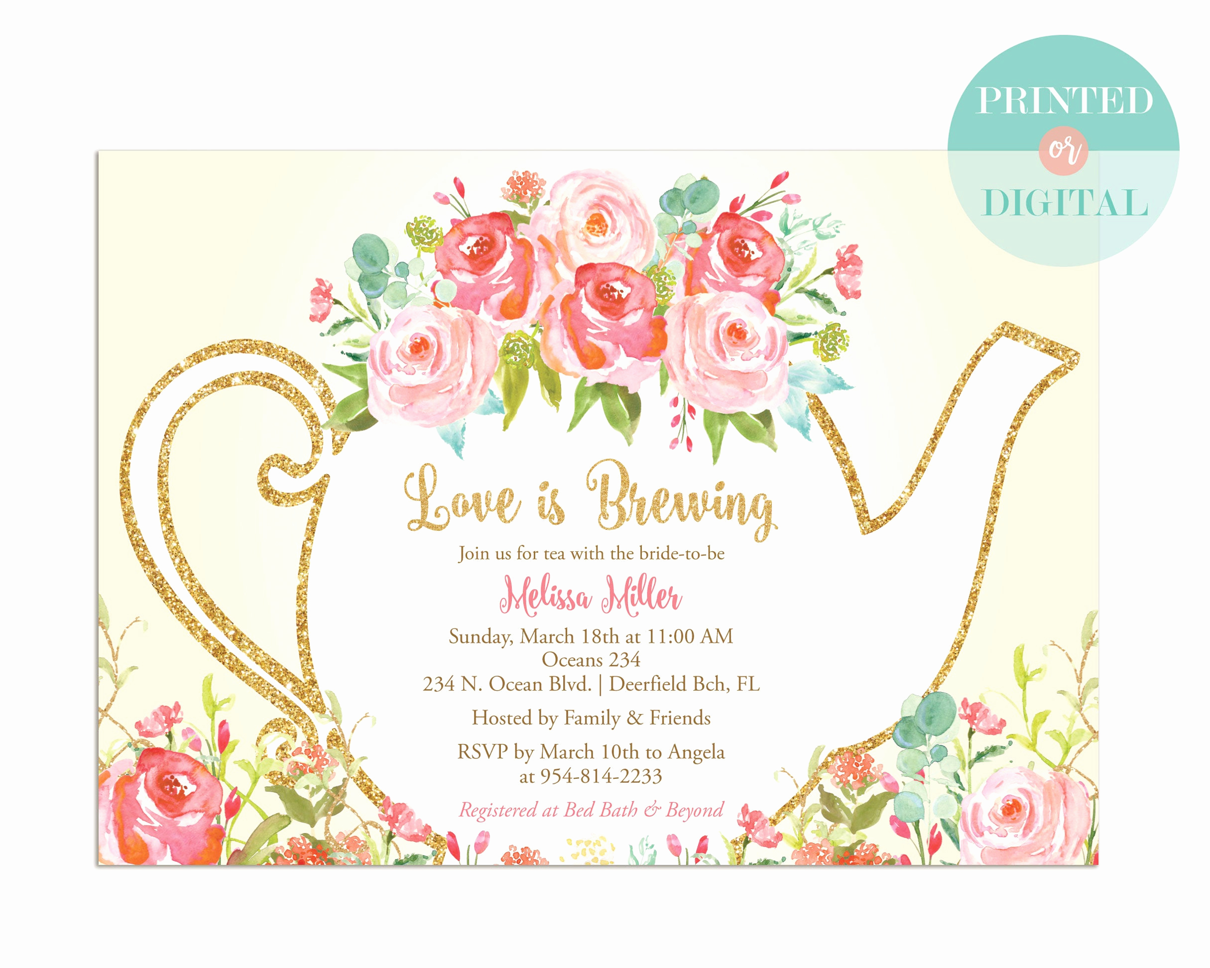 Invitation for Tea Party Lovely Bridal Shower Tea Party Invitation Printed or Digital