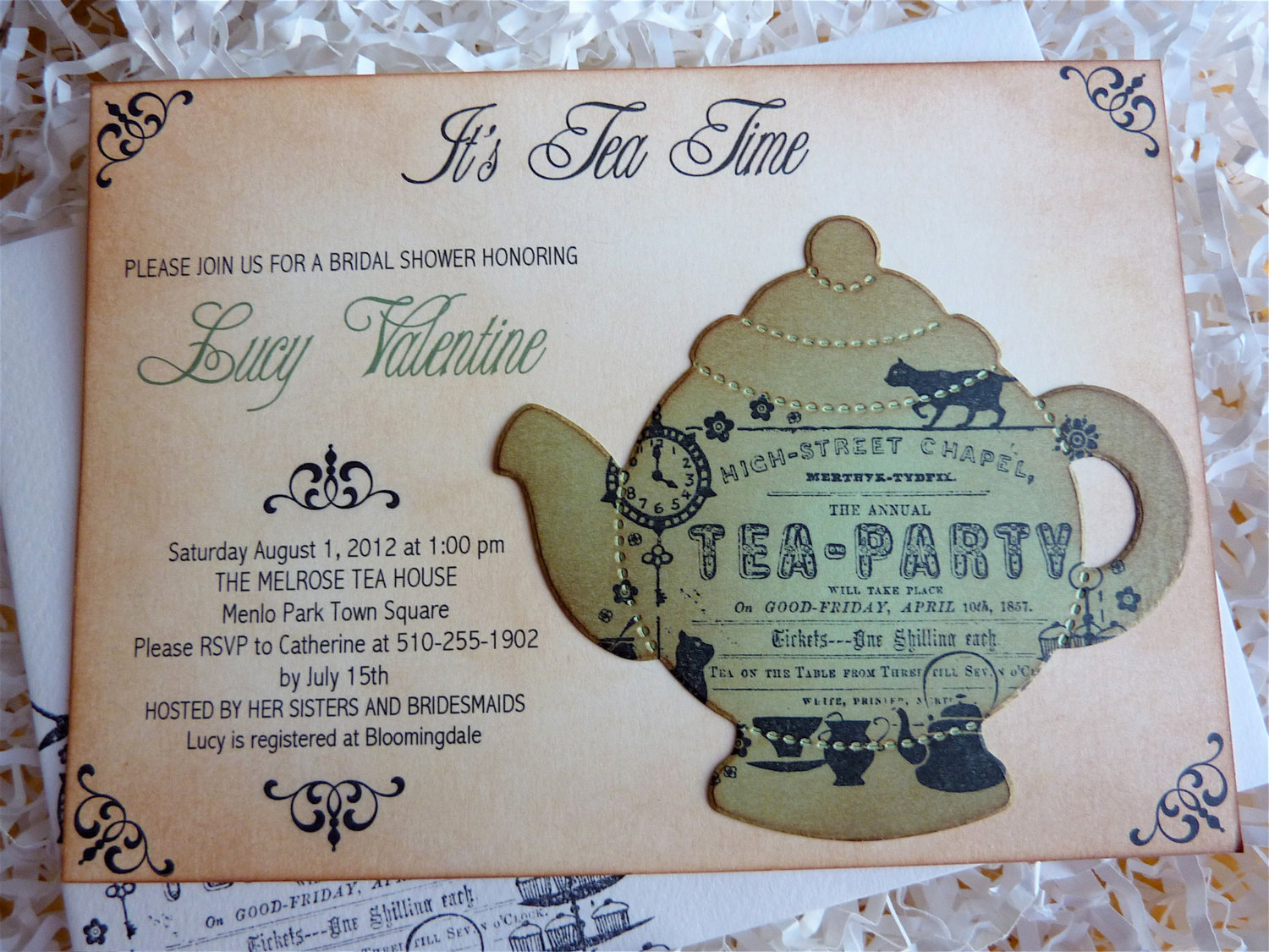 Invitation for Tea Party Lovely Bridal Tea Party Invitation High Tea Shower Invite English