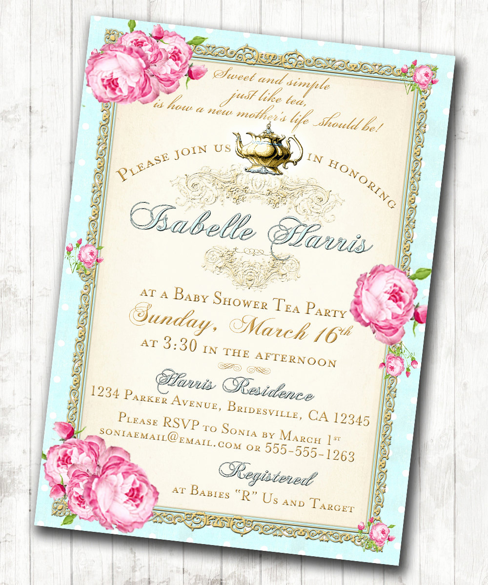 Invitation for Tea Party Unique Tea Party Baby Shower Tea Party Invitation Floral Vintage