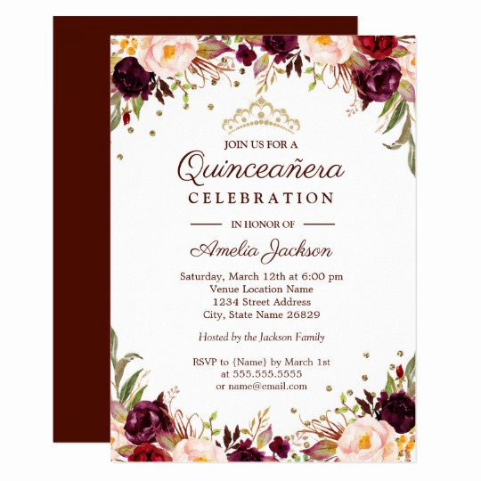 Invitation Ideas for Quinceanera Lovely Elegant Gold Burgundy Floral Quinceanera Invitation