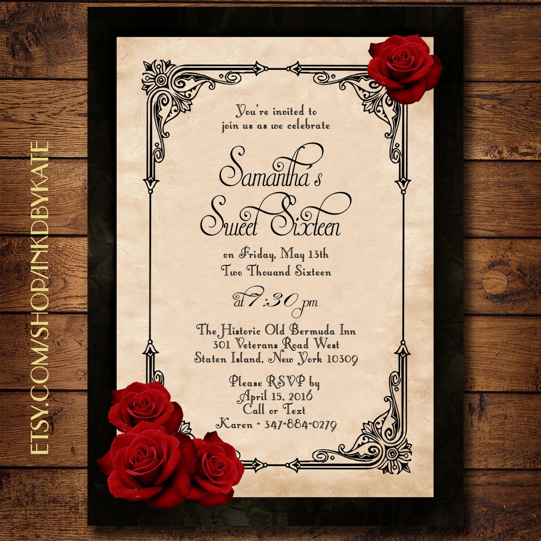 Invitation Ideas for Quinceanera Unique Vintage Black and Red Romantic Rose Quinceanera or Wedding