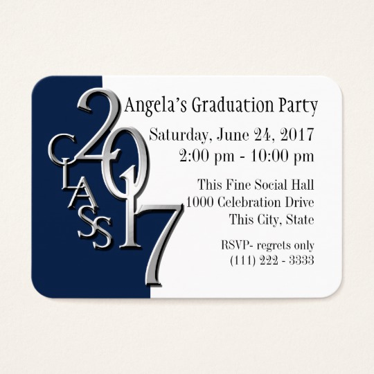 Invitation Inserts for Graduation Party Awesome Graduation Party Blue Insert Card 2017