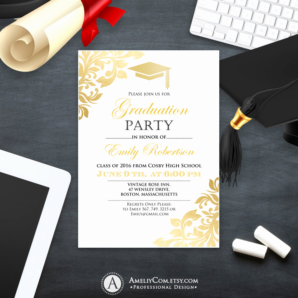 Invitation Inserts for Graduation Party Beautiful Graduation Party Invitation Template Printable Gold Foul Girl