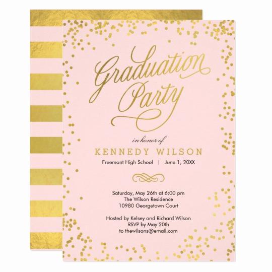 Invitation Inserts for Graduation Party Fresh Shiny Confetti Graduation Party Invitation Pink
