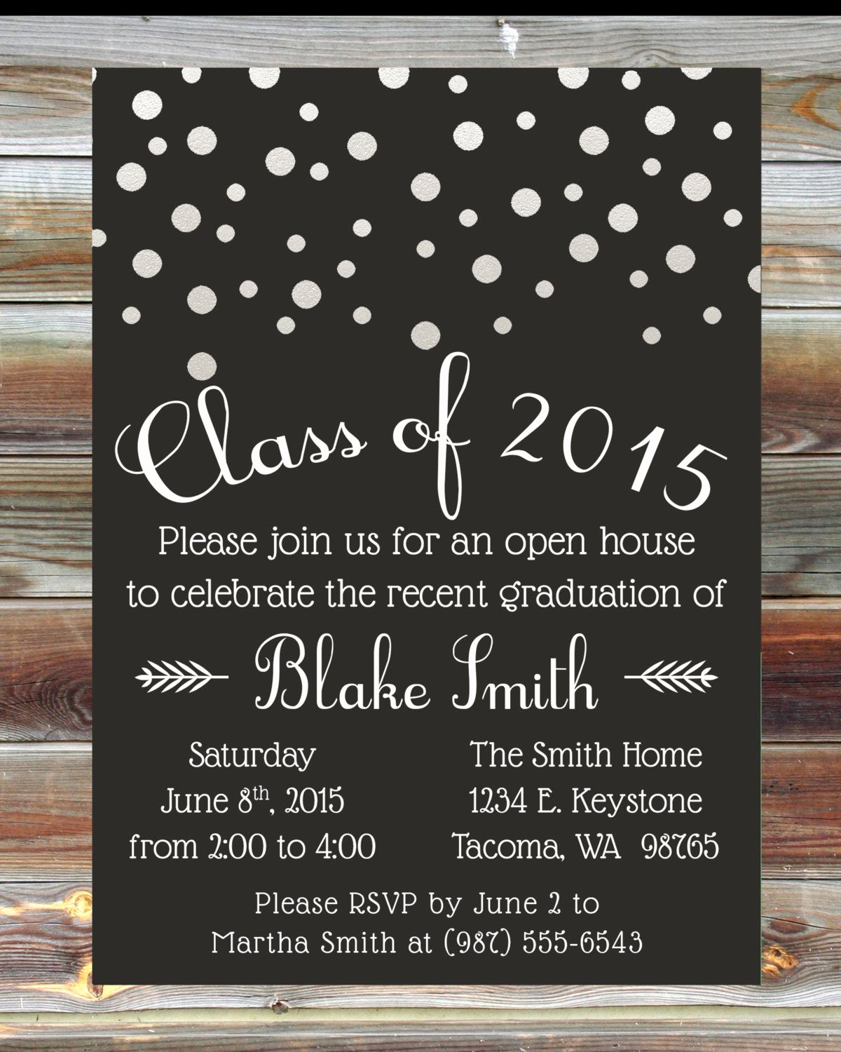 Invitation Inserts for Graduation Party Lovely Custom Color Graduation Open House Invitation Champagne