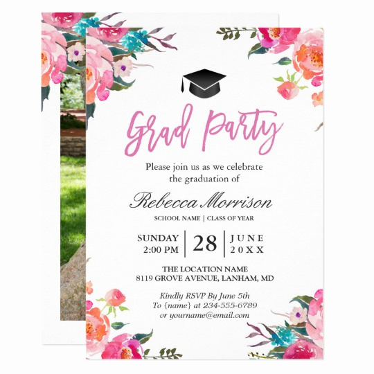 Invitation Inserts for Graduation Party Lovely Watercolor Botanical Pink Floral Graduation Party