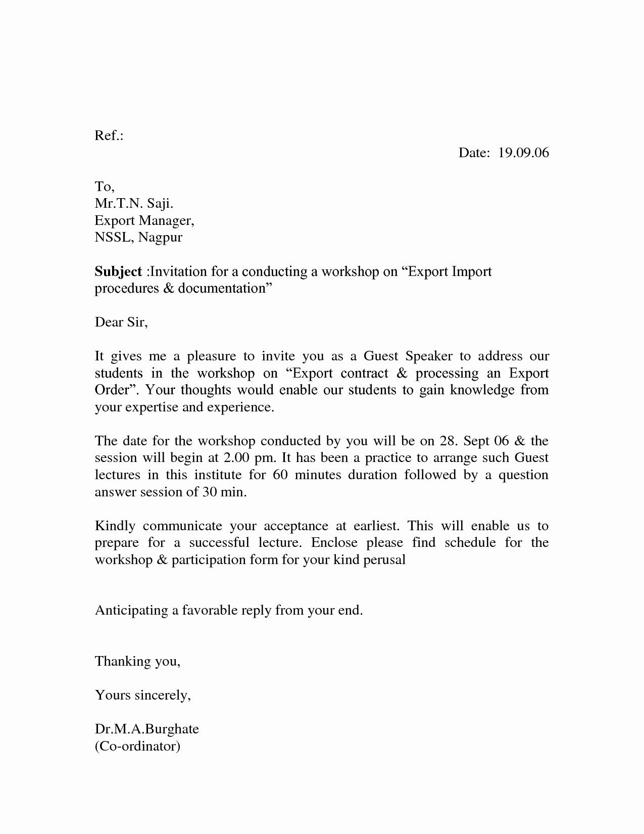 Invitation Letter for Speaker Awesome Fresh and New Design Midwestallstars