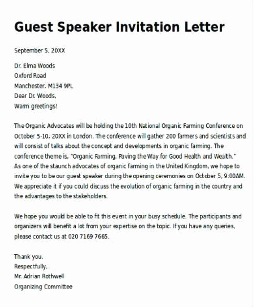 Invitation Letter for Speaker Awesome How to Write A Letter Of Invitation for A Guest Speaker at