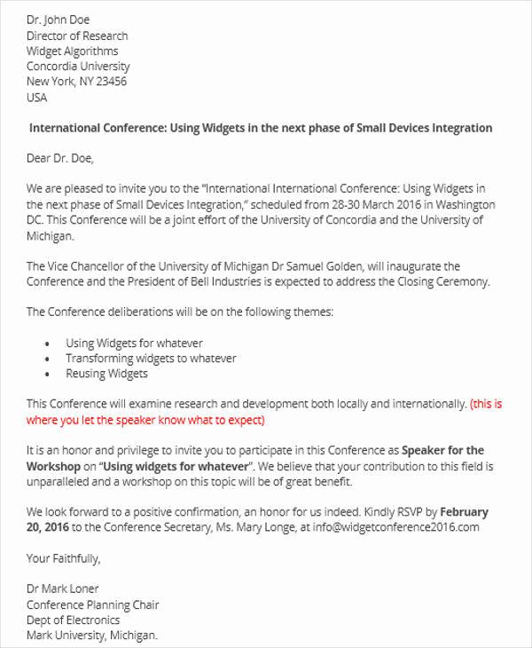 Invitation Letter for Speaker Beautiful 35 Invitation Letters