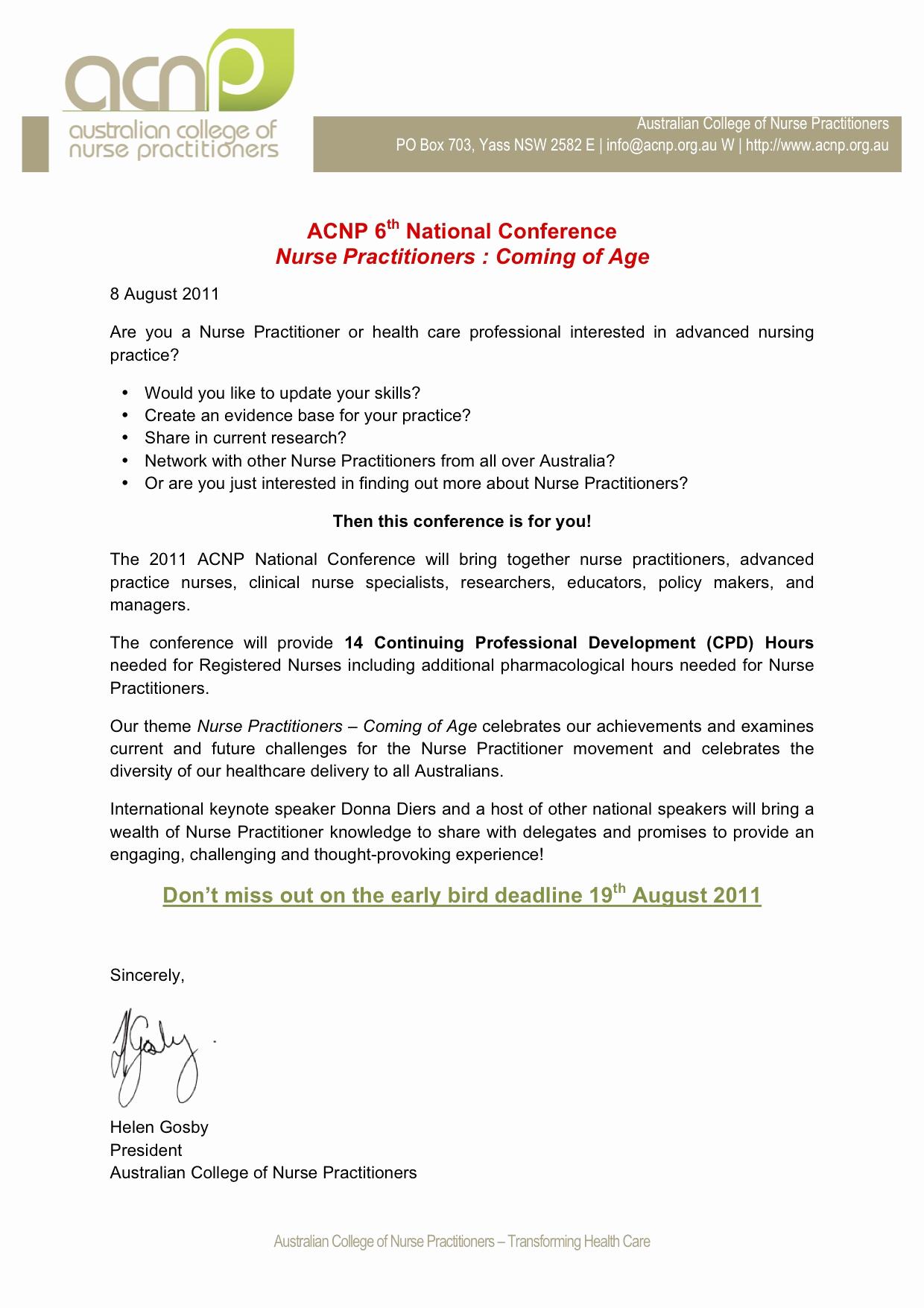 Invitation Letter for Speaker Beautiful Australian College Of Nurse Practitioners 2011 National