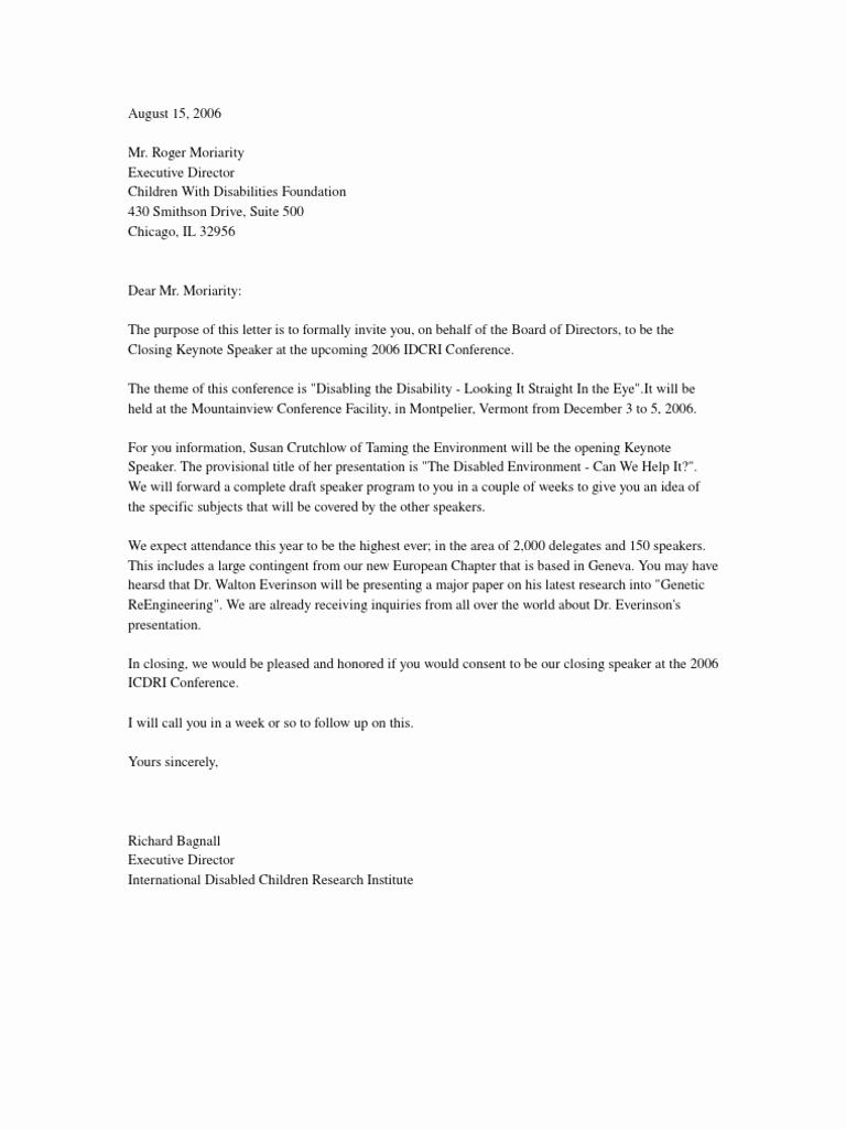 Invitation Letter for Speaker Best Of Invitation Letter Invite Conference Speaker