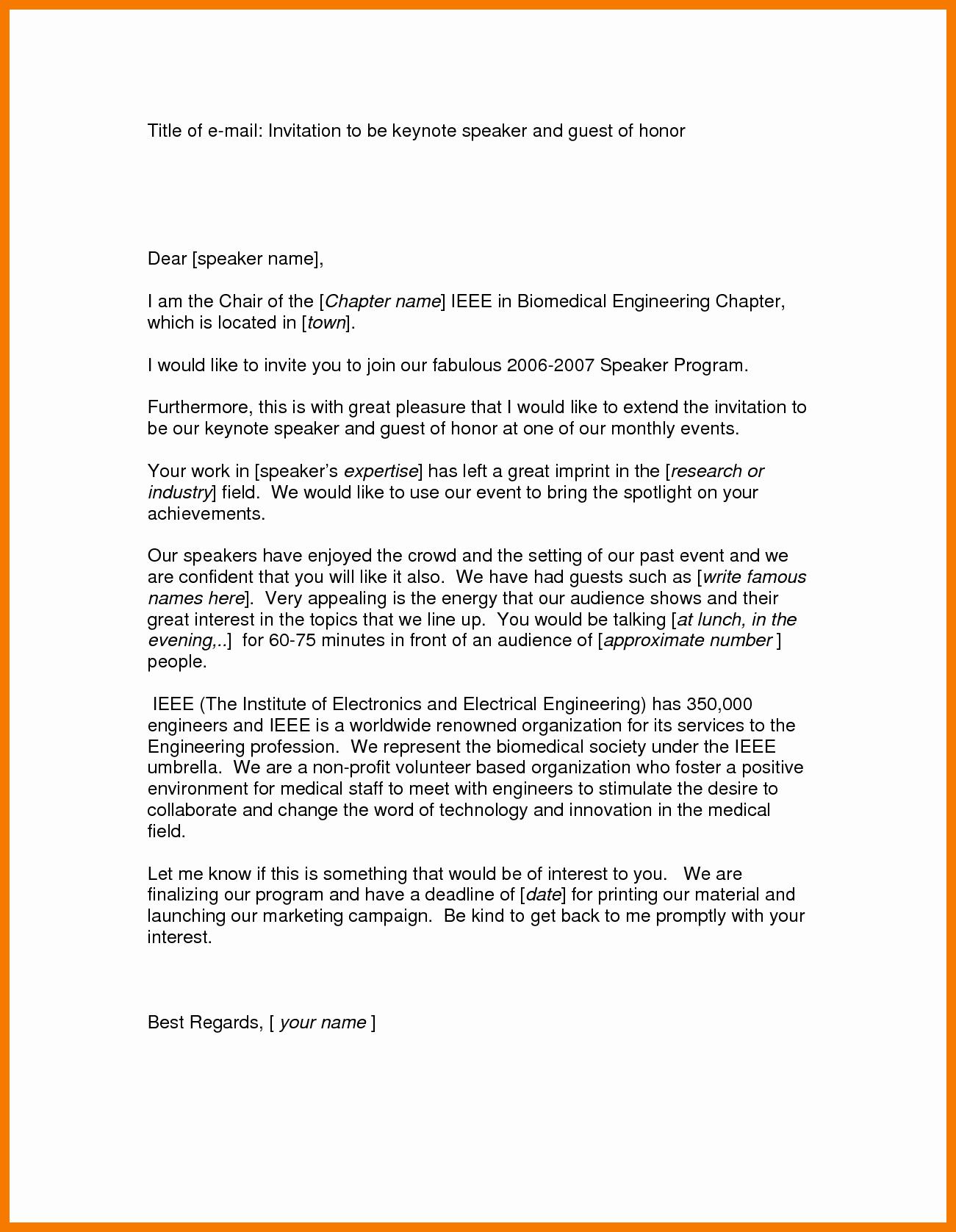 Invitation Letter for Speaker Elegant 12 13 Request Letter for Guest Speaker