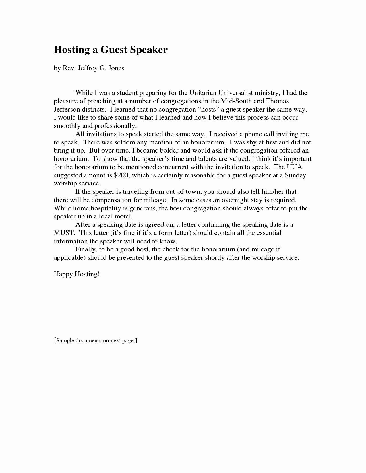 Invitation Letter for Speaker New Church Guest Speaker Invitation