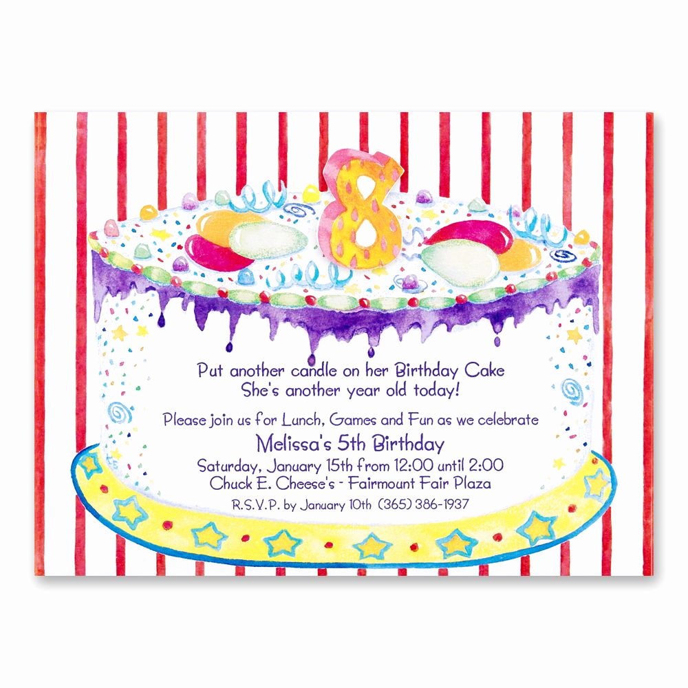 Invitation Message for Party Beautiful 8th Birthday Party Invitations