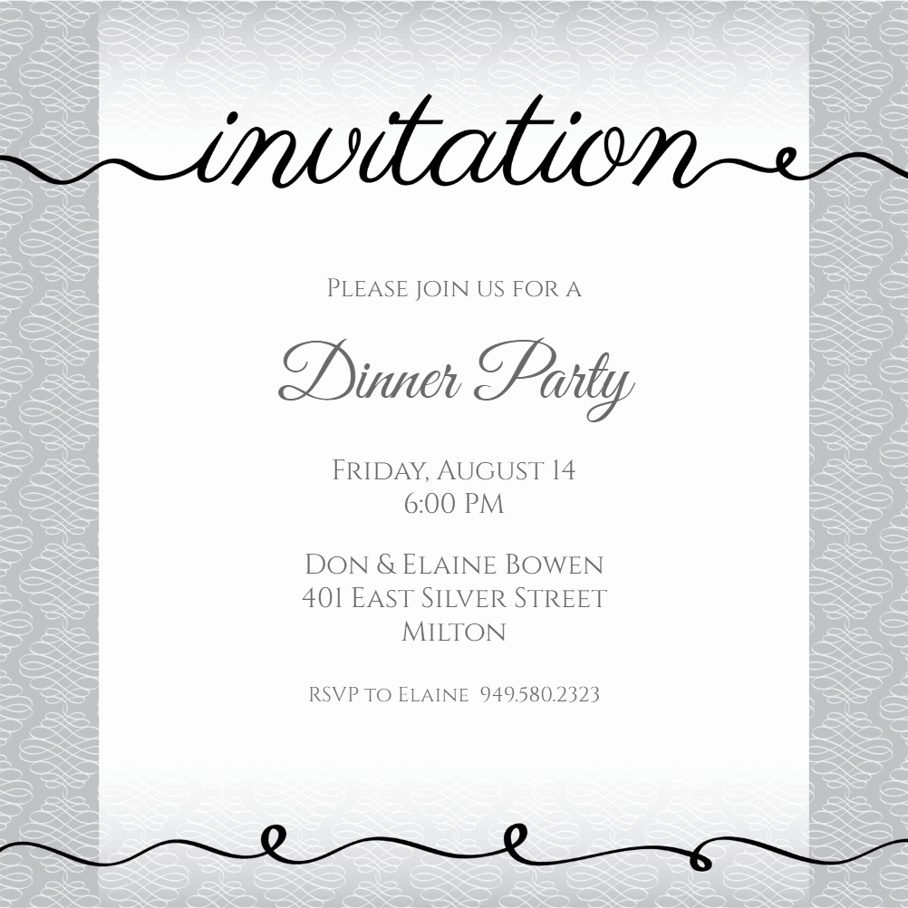 Invitation Message for Party Beautiful Ribbon Writing Dinner Party Invitation Template Free