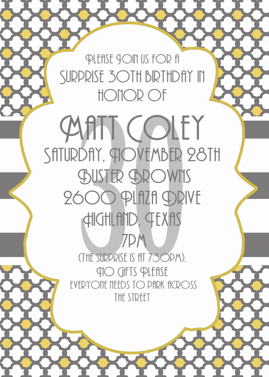 Invitation Quotes for Party Inspirational Surprise Party Invitation 30th Birthday Invitation by