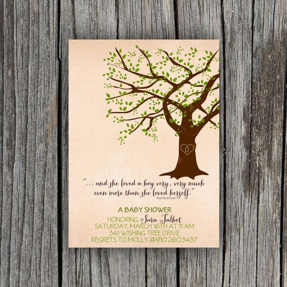Invitation Shel Silverstein Poster Lovely Giving Tree Baby Shower Invitation by Petitpapel On Etsy