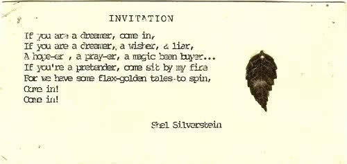 Invitation Shel Silverstein Poster Lovely Invitation A Deluge Of Words Pinterest