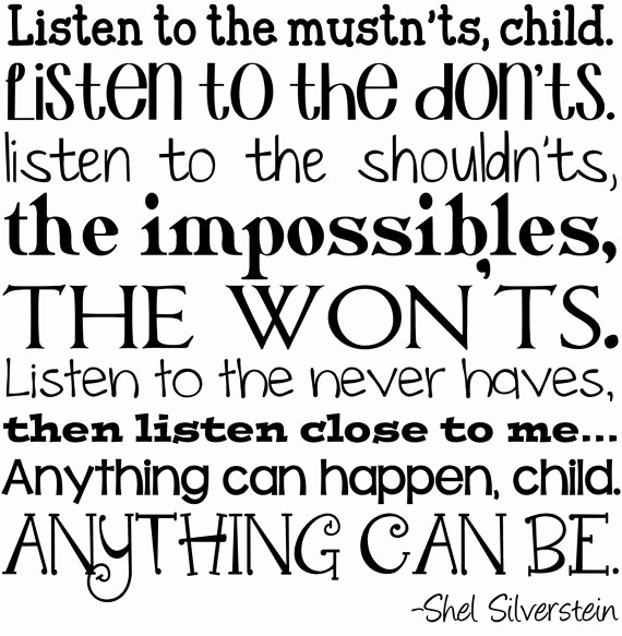 "Invitation Shel Silverstein Poster New Digital Print ""listen to the Mustn Ts"" by Shel"