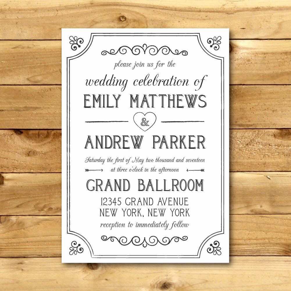 Invitation Templates for Word Beautiful Wedding Invitation Template Printable Wedding Invitation