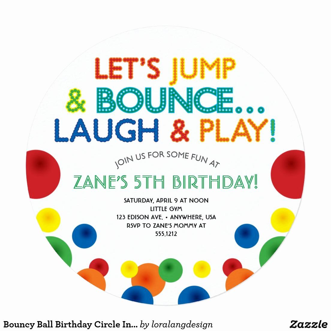 Invitation to A Ball Beautiful Bouncy Ball Birthday Circle Invitation