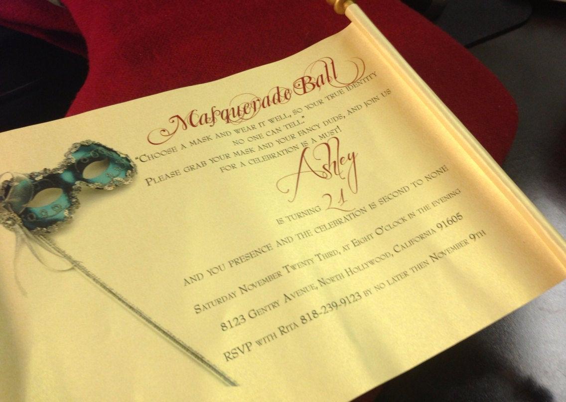 Invitation to A Ball Beautiful Masquerade Ball Invitation Scroll Scroll Invitation