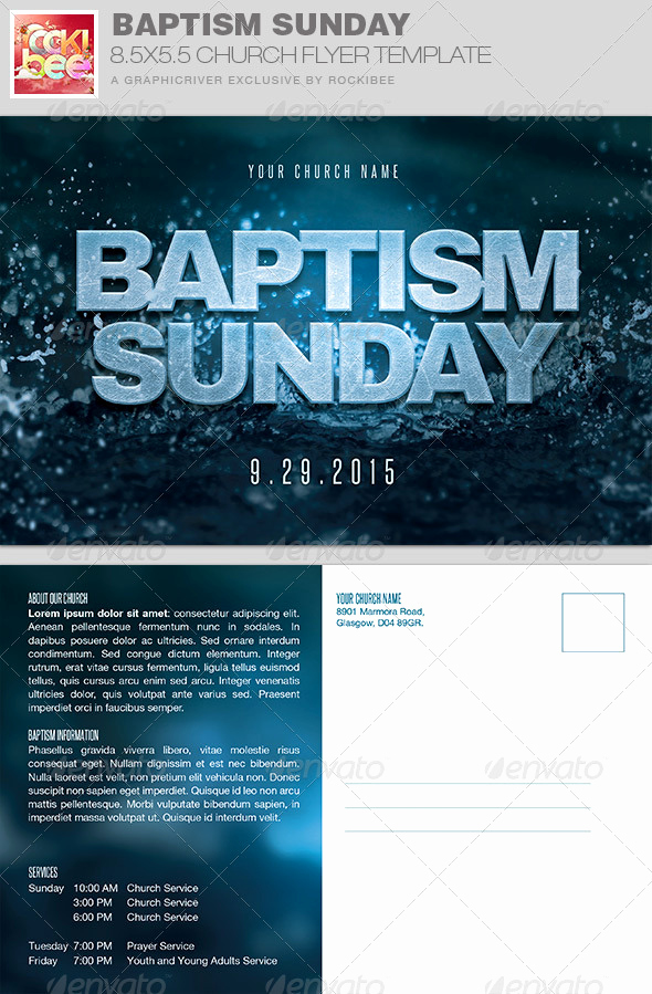 Invitation to Church Service Flyer Beautiful Baptism Sunday Church Flyer Invite Template by Rockibee