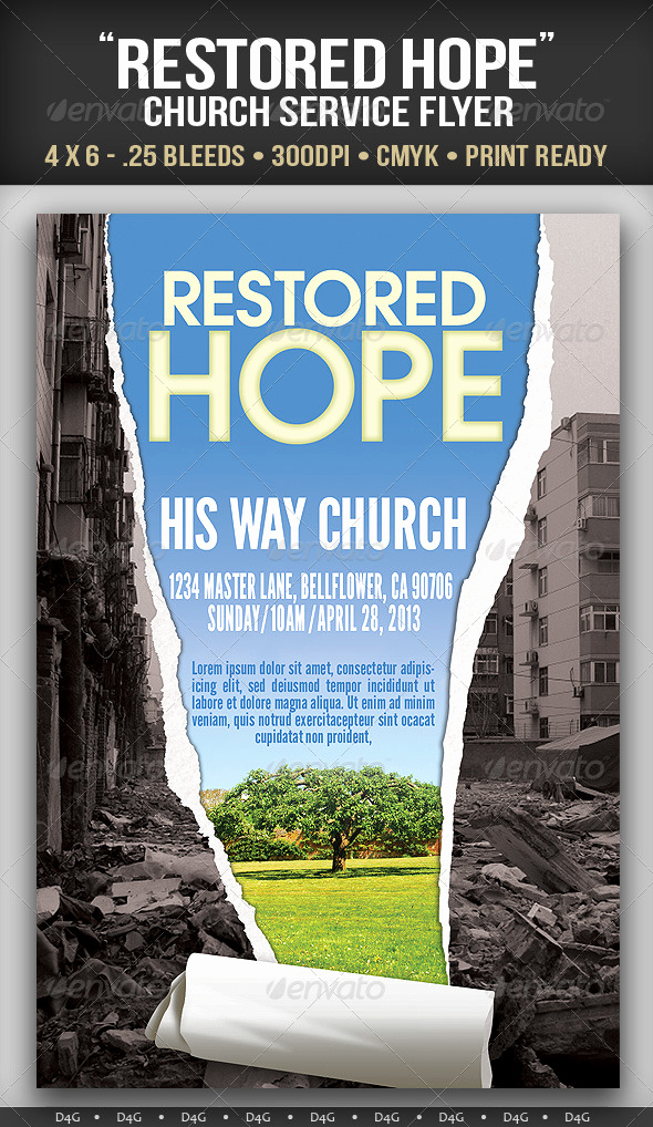 "Invitation to Church Service Flyer Best Of ""restored Hope"" Church Service Flyer"