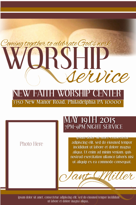 Invitation to Church Service Flyer Best Of Worship Service Template