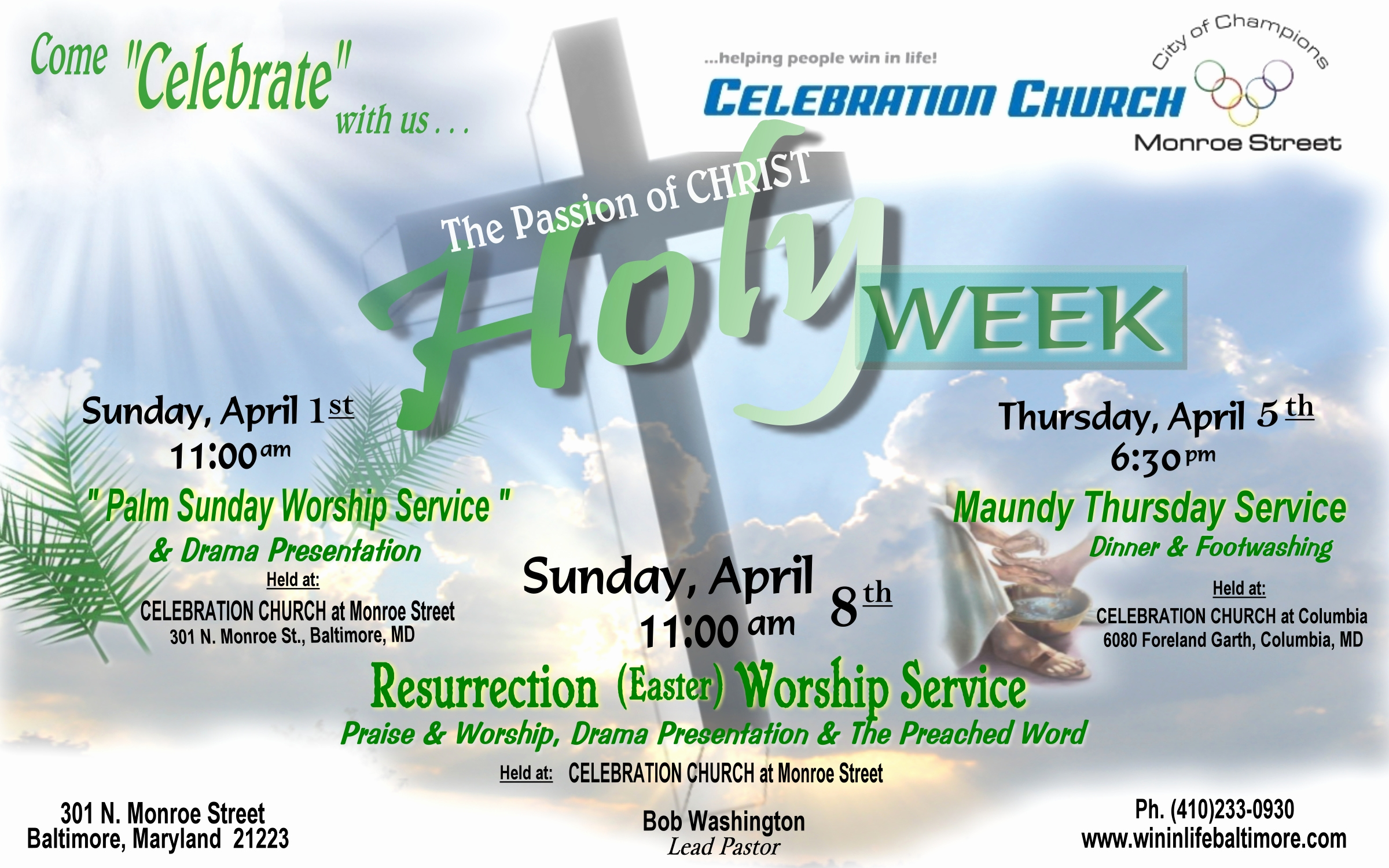 Invitation to Church Service Flyer Inspirational Celebration Church Monroe Street Baltimore Maryland
