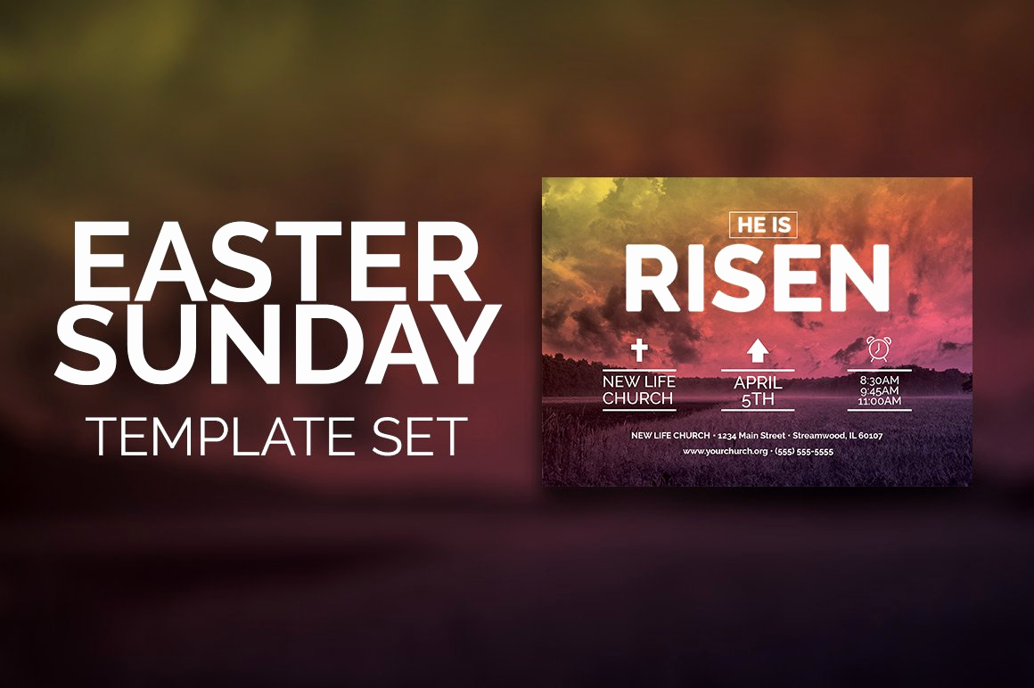 Invitation to Church Service Flyer Lovely Easter Sunday Church Template Set Flyer Templates