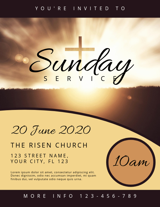 Invitation to Church Service Flyer Unique Sunday Service Church Flyer Template