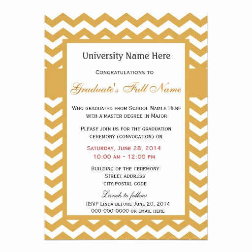 Invitation to Graduation Ceremony Awesome Elegant Golden Chevron Graduation Ceremony 5x7 Paper