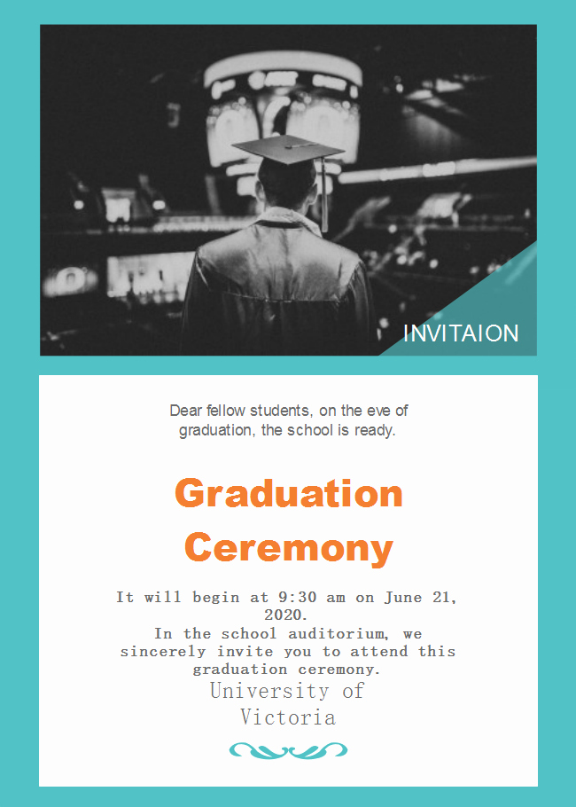 template school graduation ceremony invitation