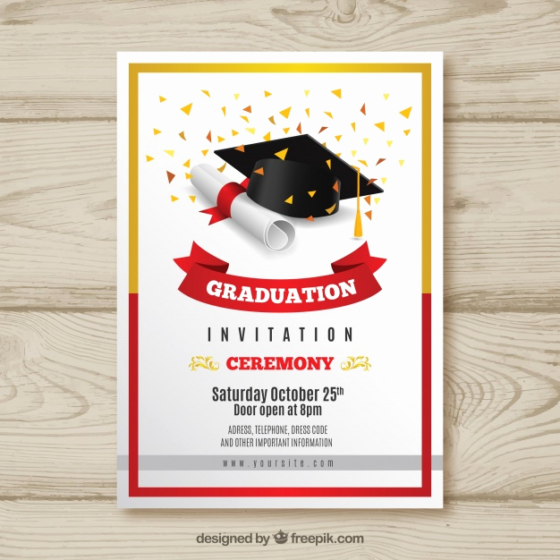 Invitation to Graduation Ceremony Fresh Elegant Graduation Invitation with Realistic Design Vector