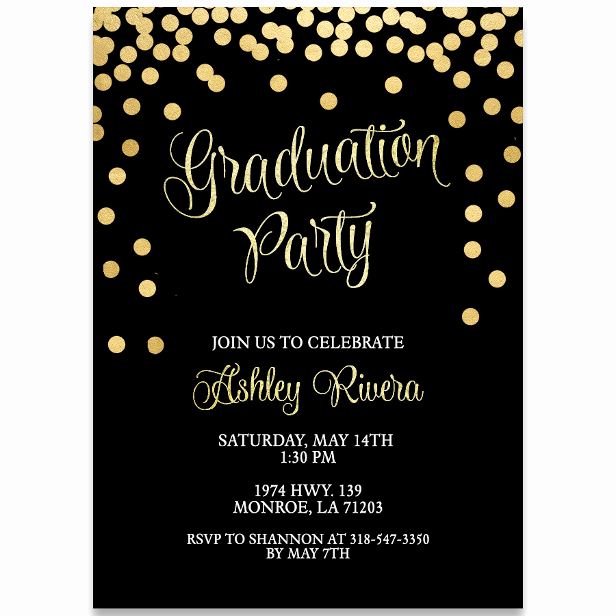 Invitation to Graduation Party Awesome Glitter and Gold Graduation Party Invitation