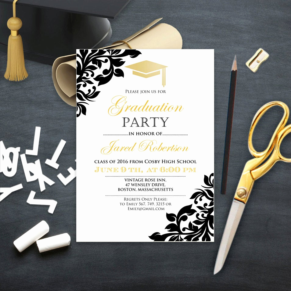 Invitation to Graduation Party Awesome Graduation Party Invitation College Printable Template Girl