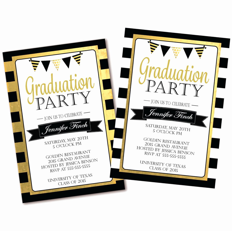 Invitation to Graduation Party Luxury Black & White Stripe Graduation Party Invitation Black