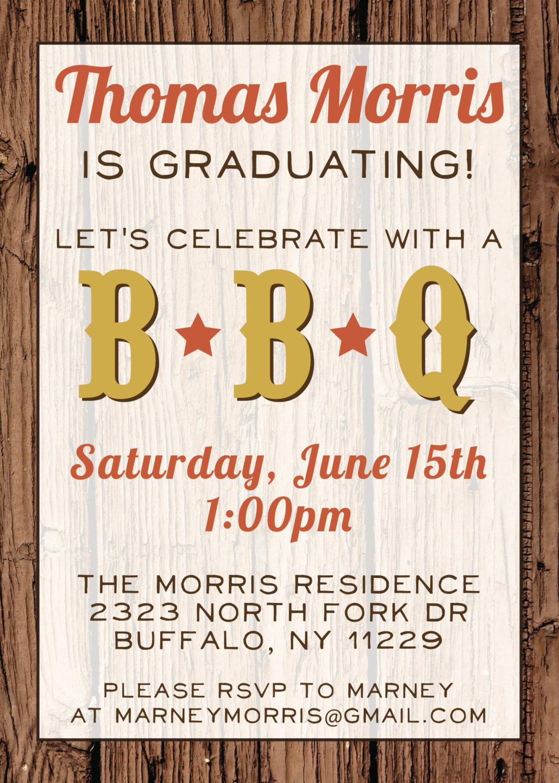 Invitation to Graduation Party Luxury Custom Bbq Graduation Party Invitation Digital File