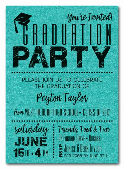 Invitation to Graduation Party Luxury Shimmery Teal Dotted Graduation Party Invitations