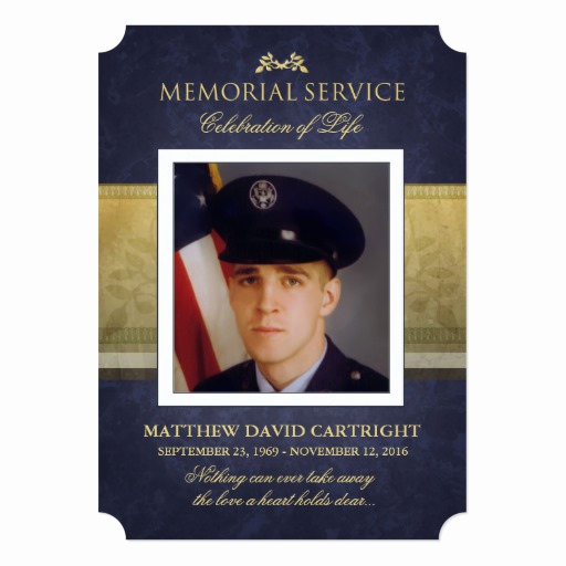 Invitation to Memorial Service Awesome Memorial Service Navy Blue & Gold Elegance Invite