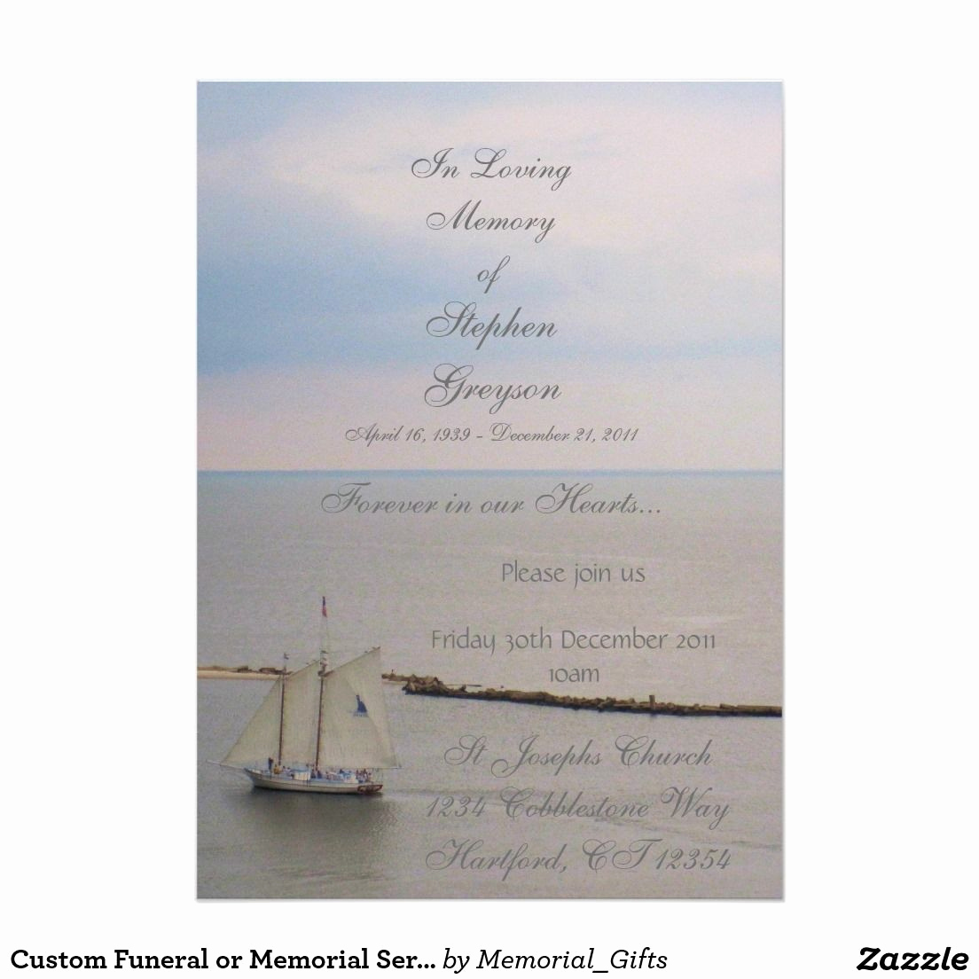 """Invitation to Memorial Service Best Of Custom Funeral or Memorial Service Announcement 5"""" X 7"""
