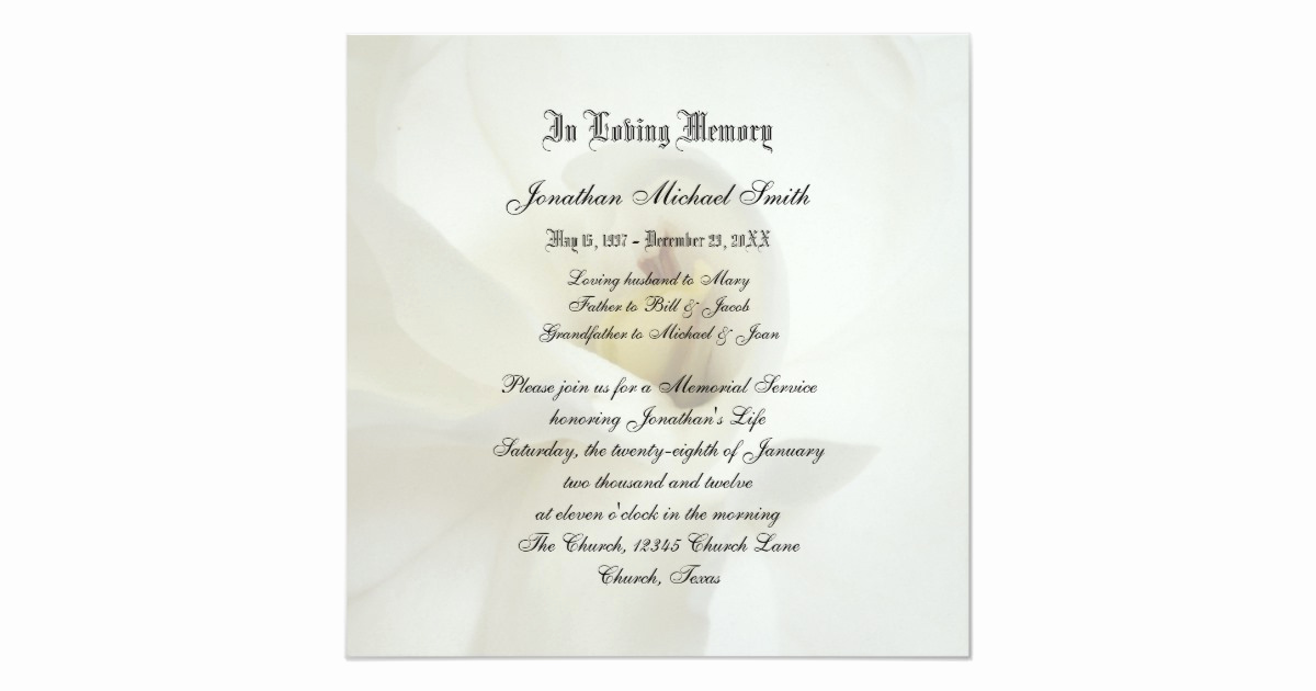Invitation to Memorial Service Elegant Memorial Service Invitation Announcement