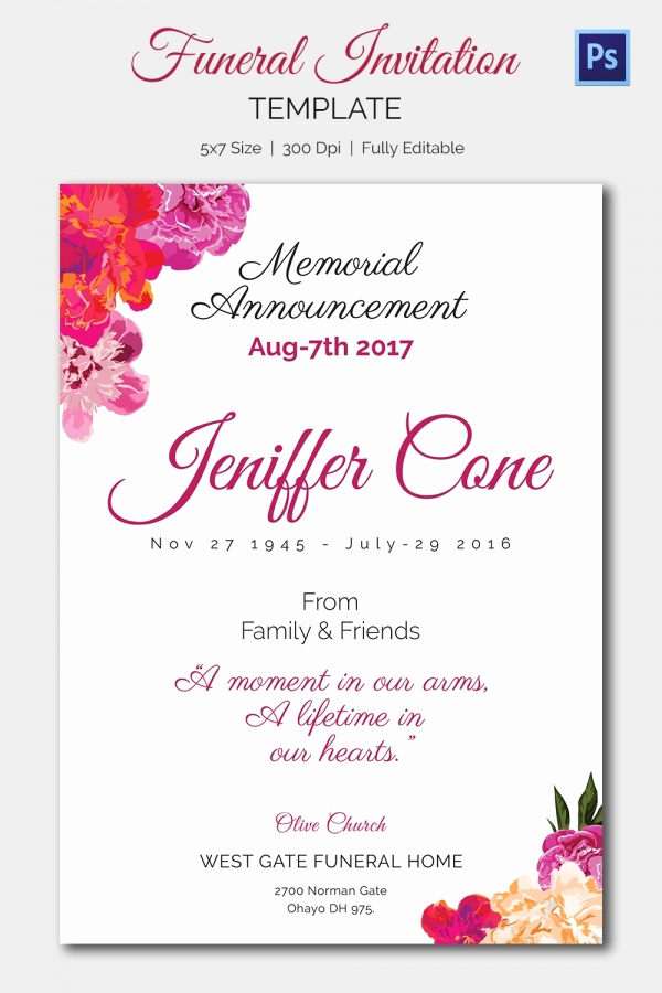 Invitation to Memorial Service Inspirational Funeral Invitation Template – 12 Free Psd Vector Eps Ai