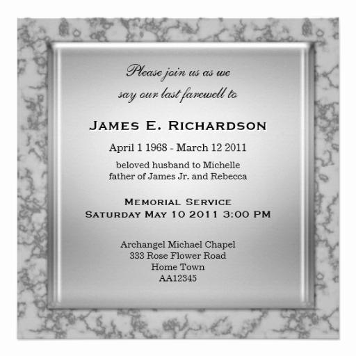Invitation to Memorial Service Lovely Elegant Grey Marble Memorial Service Invitation 5 25