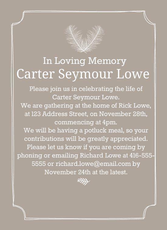 Invitation to Memorial Service Luxury 39 Best Funeral Reception Invitations Weddings
